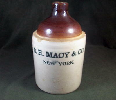 Antique R.H. Macy & Co. New York Stoneware Whiskey Decanter One Gallon Jug