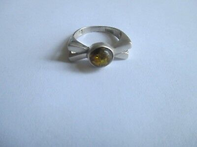 Amber Ring..(round)..STERLING SILVER..Unique Look..New..Baltic Region
