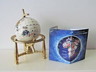 6'' White Gem Stone Globe Semi Precious Stones (With Gold Plated Stand). Boxed