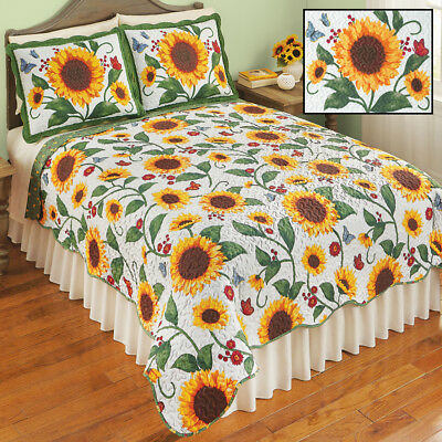 💗 ALL SIZES Reversible Sunflower Scalloped Edge Quilt Rustic Lodge Log Cabin