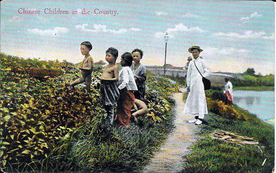 CHINA POSTCARD: CHINESE CHILDREN IN THE COUNTRY - KINGSHILL, SHANGHAI No. 169