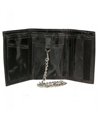 Gents Wallet/Notecase, Smooth Black Sheep Nappa Leather with Security Chain.