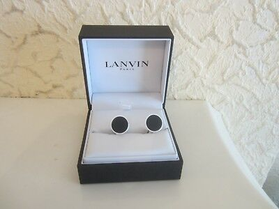 Lanvin Metal And Onyx Cufflinks