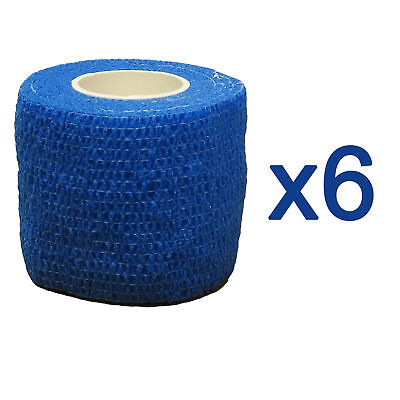 6 Pack of CMS Self Adhesive Cohesive Coban Bandage Blue 5cm Athletic Roll Tape