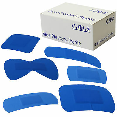 3 Boxes of CMS Wound Cut First Aid 100 Assorted Blue Catering Dressing Plasters