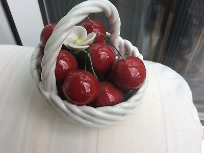 Small Basket Of Cherries Red And White Pottery Lovely Item