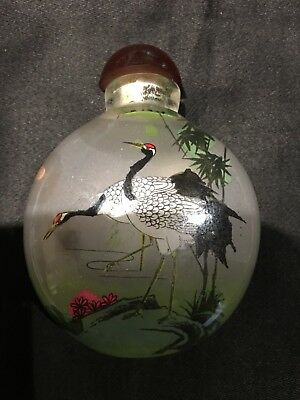 Peking Glass Inside Painted Snuff Bottle of cranes