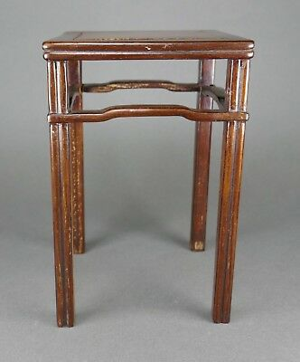 Fine Antique Chinese Carved Hard Wood Burl Top Stand For Jade or Porcelain