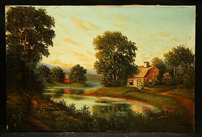 Antique American Landscape Oil Painting Country House by the River