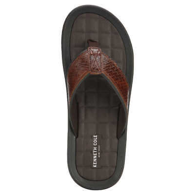 db3a8f1ea6c9 NEW - Kenneth Cole New York Men s Leather Flip Flops Sandals Brown - Pick  Size