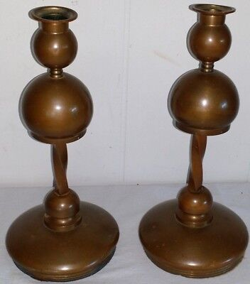 "Beautiful Pair Copper Arts Crafts Mission Style 11"" Candlestick Candle Holders"
