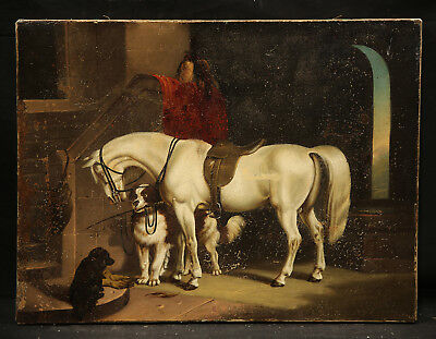 Horse and Dogs Barn Animal Antique 19th Century American or British Painting