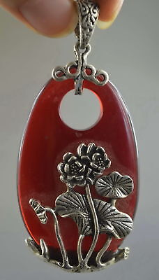 Collectable Handwork Old Miao Silver Carve Lotus Inlay Agate Lucky Rare Pendant