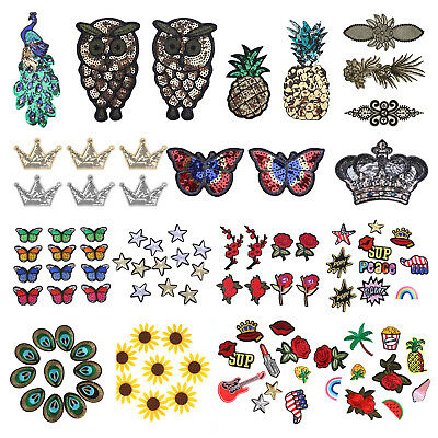 Set of Patch Embroidered Iron On Patches Badge Bag Fabric Applique Craft DIY