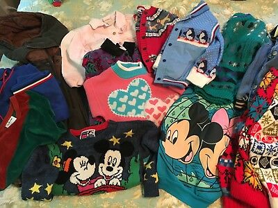 Vintage Toddler Winter Clothes Lot Sweater Vest Hat Coat Jacket Denim