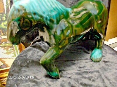 Clydesdale Horse Blue Mountain Pottery blue/green glaze 12x5x8inches high