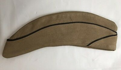 Ww2 Us Womens Khaki Overseas Garrison Wac Cap W/ Black Chaplain Piping Rare