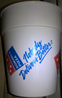 Domino's Pizza vintage old plastic cup Nobody Delivers Better 1990's