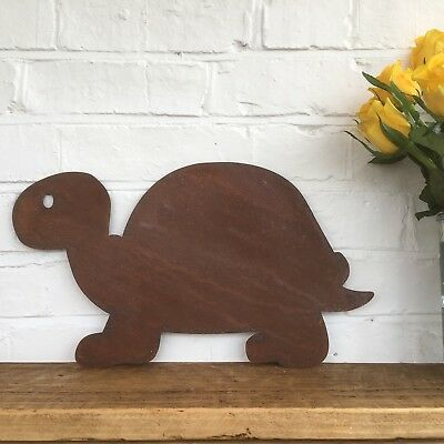 Rusted TURTLE TORTOISE Sign Metal Home Garden Ornament Animal Decoration Plaque