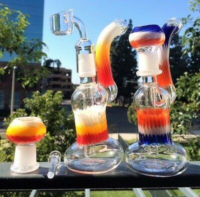 """Collectible Tobacco Glass Water Pipe Bong Bubbler Hookah Rig 7"""" w Slide Bowl"""