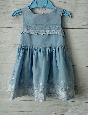 Baby Girls Cotton Sleeveless Dress Blue And White 6-9 months
