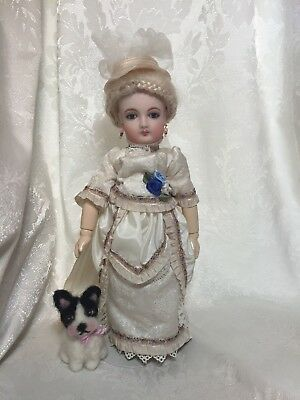 Tiny French Bulldog Antique Fashion Doll Puppy Dog Artist Elsa Jo Ellison 2.75""