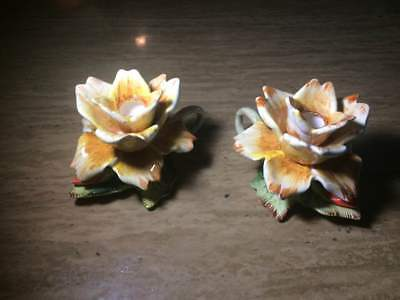 (2) Porcelain Japan Candle Stick Holders
