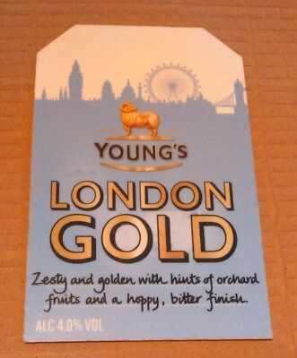Beer pump badge clip YOUNG'S brewery LONDON GOLD cask ale pumpclip front