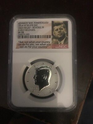 Kennedy 2014 W Silver Reverse Proof 50c NGC PF70 High Relief 50th Anniversary