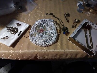lot of vintage jewerly and vintage purse-trifari book marker=brass necklace