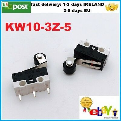 10pcs KW10-3Z-5 Micro Limit Switch Roller Lever 1A 125V AC Open/Close Switch