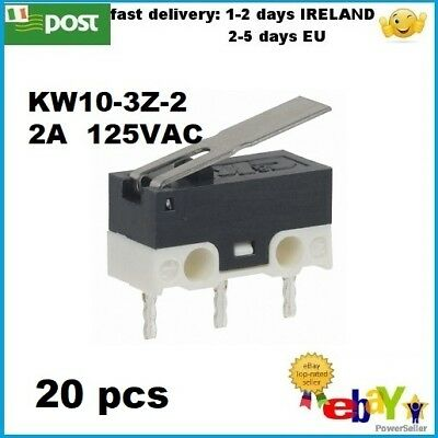 20Pcs KW10-3Z-2 125V 2A 3Pin Terminals Momentary Lever Arm Micro Switch