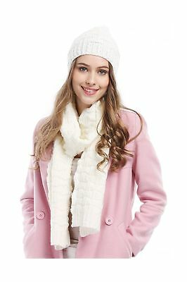 Women Fashion Winter Warm Knitted Scarf and Hat Set Skullcaps White_style