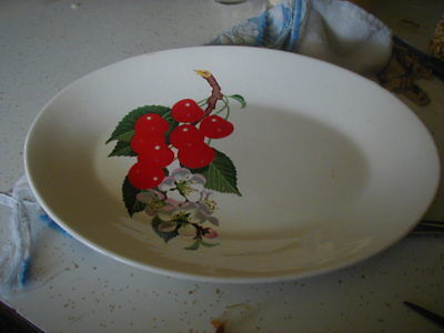 Vintage Ws George Oval Platter-Cherries N Blossoms