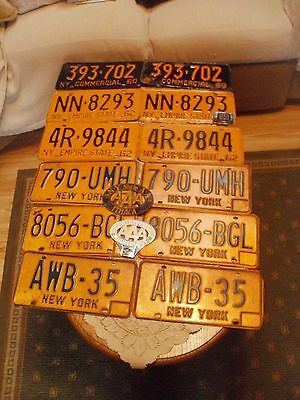 SIX VINTAGE PAIR OF NEW YORK licence plates & 2 ithaca AAA
