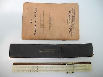 K&E Keuffel & Esser 4041 Mannheim Slide Rule with 1932 Booklet & Leather Case