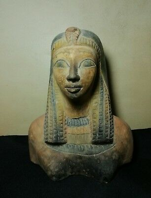 Ancient Egyptian limestone bust of Queen Hatshepsut
