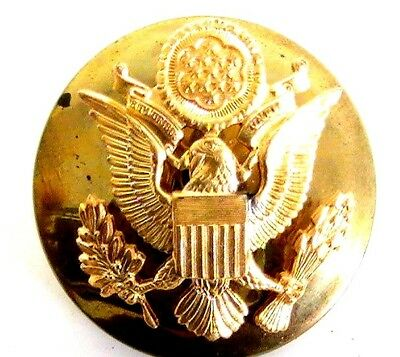 Vintage US Army Golden Eagle Screw back Military Brass Hat Badge Pin Insignia