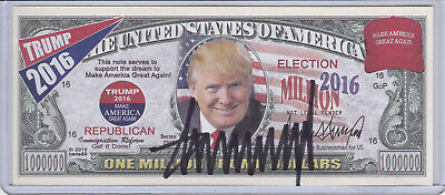 President Donald Trump Hand Signed Autograph 2016 Note w/ **COA** Currency Bill