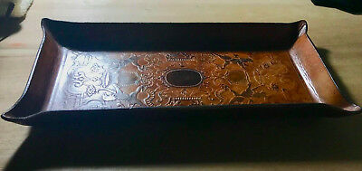 Vintage Fine Brown embossed Leather Valet Tray Lions and crowns Coat of Arms