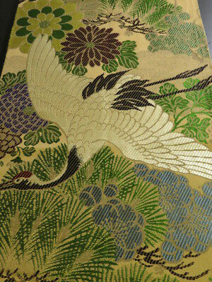Ki04z180 Vintage Japanese Kimono Silk OBI FABRIC  Flying crane 75.6""