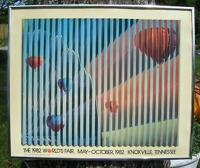 Vintage Very Rare 1982 Worlds Fair Tennessee Lenticular Hot Air Balloons Print