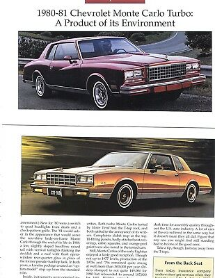 1980 - 1981 CHEVROLET CHEVY MONTE CARLO TURBO Color Article