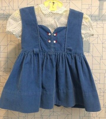 Vintage 1950's corduroy baby toddler jumper with blue dotted swiss blouse