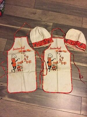 Lot Of 2 Sets Mr Peanut Junior Chef Apron with Matching Chef Hats ( Bin 4)