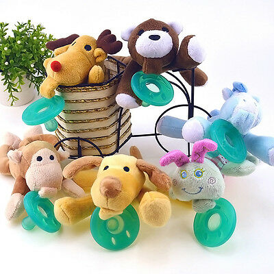 1pcs Animal Baby Nipple Infant  Silicone Pacifiers with Cuddly Plush Toy  Gift