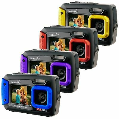 Ivation 20MP Underwater Waterproof Digital Camera w/Full-Color Selfie Display