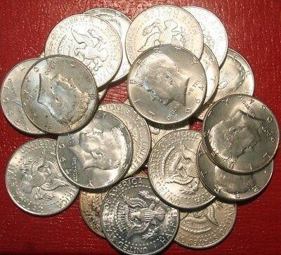 20 1964 Kennedy Half Dollars , AU-UNC , 90% Silver Coin Lot , Circulated, Lot 4