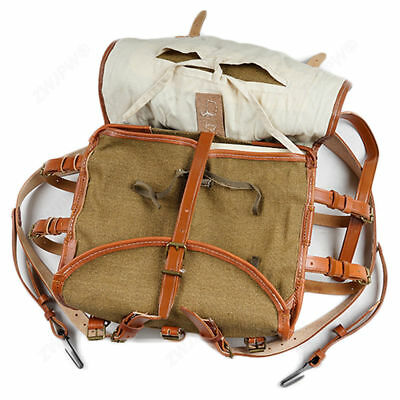 Repro WW2 Chinese Army KMT Combat Field Haversack Linen Backpack Leather