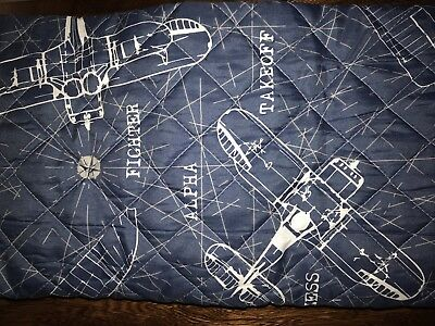 KIDS RULE Quilted Vintage Airplanes Aviation Blueprint TWIN Quilt Set - 2 PC SET